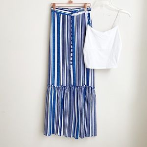 NWT blue and white stripes maxi skirt size XS